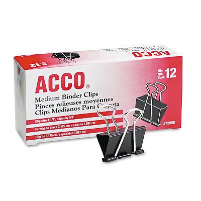 """ACCO Medium Binder Clips Steel Wire 5/8"""" Cap 1 1/4""""w Black/Silver Dozen 72050"""