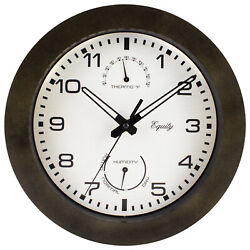 29005 Equity by La Crosse 10 Indoor / Outdoor Wall Clock with Temp & Humidity