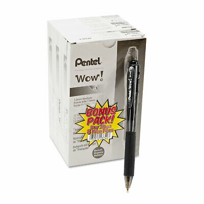 Pentel Wow Retractable Ballpoint Pen 1mm Black Barrel Black Ink 36pack