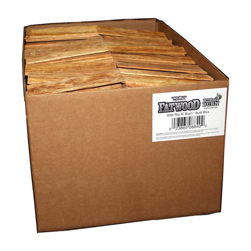 BetterWood Products Fatwood Rip & Burn Firestarter Waterproof Wood, 40 lbs