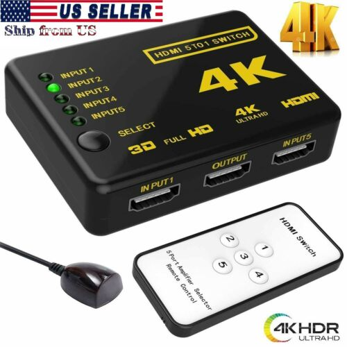 5 PORT HDMI 4K AUTO SWITCH SELECTOR SPLITTER HUB IR REMOTE HDTV  (5 IN 1 OUT)