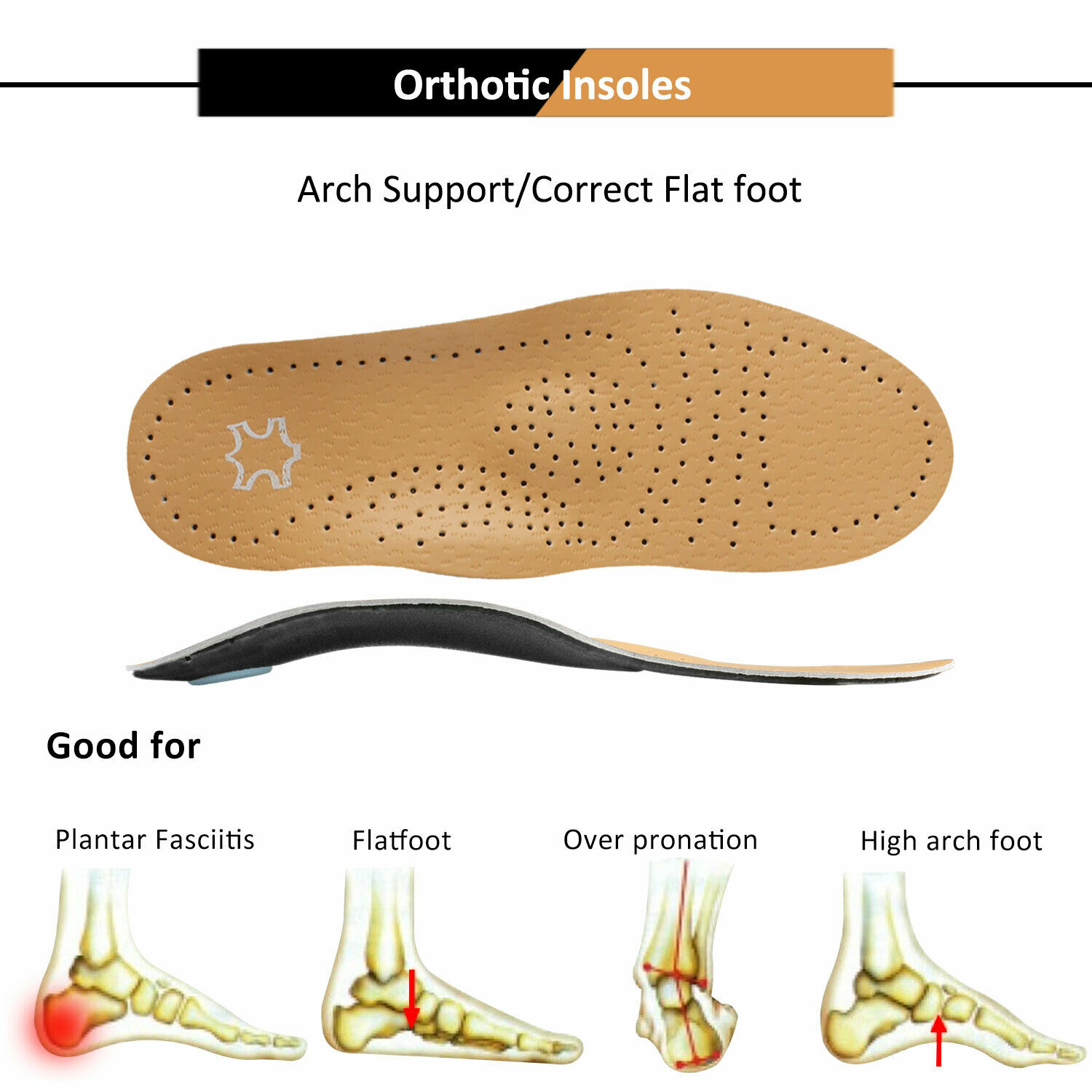 Arch Support Heel Orthopedic Leather Insoles Inserts Plantar Fasciitis Shoe Clothing & Shoe Care
