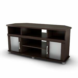 brown corner tv stand 50 inch flat screen lcd television entertainment center ebay. Black Bedroom Furniture Sets. Home Design Ideas