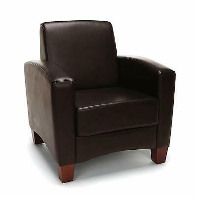 Contemporary Design Brown Leather Reception Area Side Chair - Waiting Room Chair