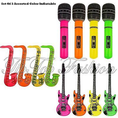 Neue Aufblasbar 3er Set Gitarre,Saxophone,Mikrofon-3 SORTIERT ARTIKEL - 3 Artikel Kostüm
