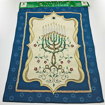 Jewish Celebration Hanukkah Menorah Lighted Tapestry Wall Hanging