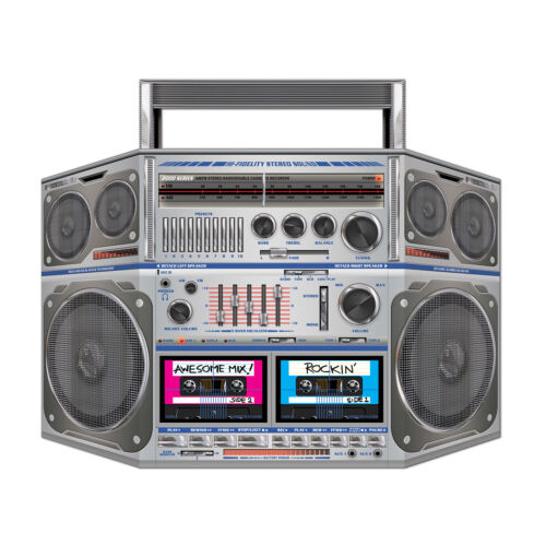 Awesome 80s Stand-Up Cardboard Boom Box Props BIRTHDAY PARTY ghetto cassette