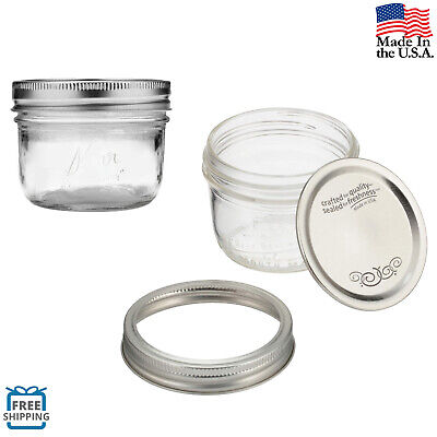Half-Pint Mason Jars 12 Pack Set 8 oz with Lids and Bands Wide Mouth