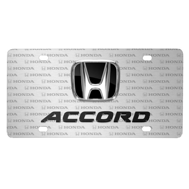 Honda Accord 3D Dual Logo on Logo Pattern Brushed Aluminum License Plate