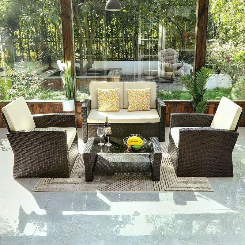 Garden Furniture - YITAHOME 4PCS Patio Wicker Rattan Sofa Furniture Outdoor Garden Conversation Set
