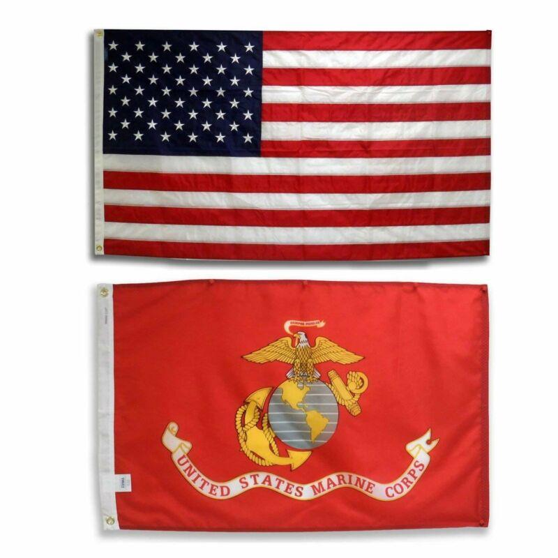United States Marine Corps Flag 3 x 5 USMC And American USA Wholesale 2 Flags