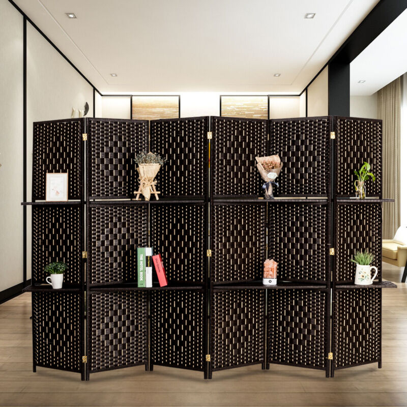 6 Panel Woven Paper Rope Divider Paper Rattan Privacy Screens 360°Rotatable