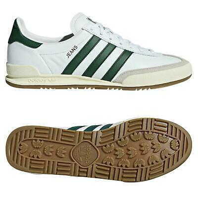 adidas ORIGINALS DEADSTOCK JEANS TRAINERS WHITE GREEN SHOES SNEAKERS RARE RETRO