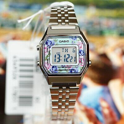 527b7df7d7a Casio LA680WA-2C Women Mid-Size Silver Digital Retro Vintage Watch FLORAL  New