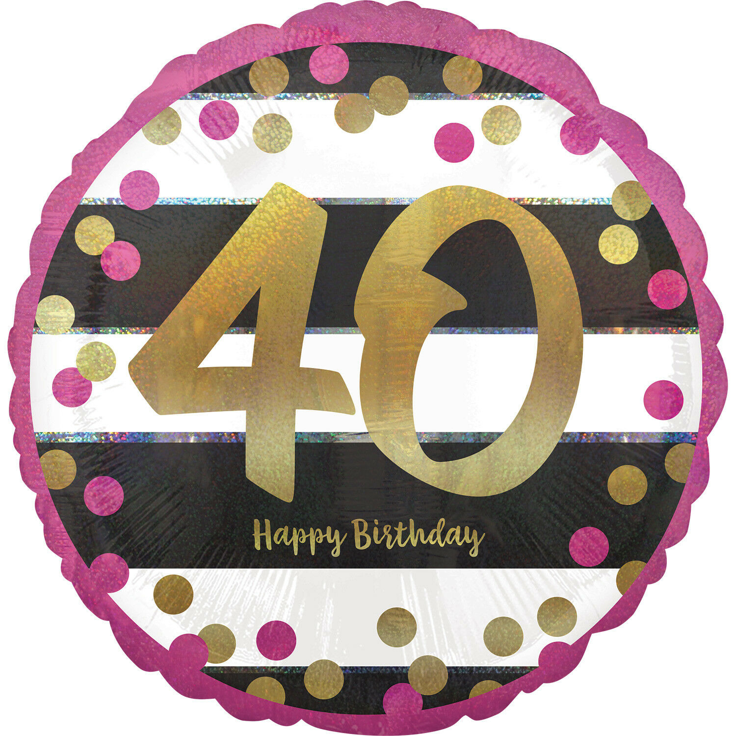 Details About 18 Round PINK HAPPY 40TH BIRTHDAY Dots Foil Helium BALLOON Party Age 40