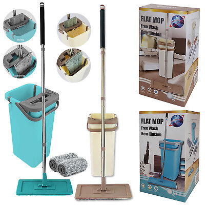 Dry Wash System - Home Wash & Dry Flat Mop Bucket All Floor Cleaning System with Two Mop Head Pads