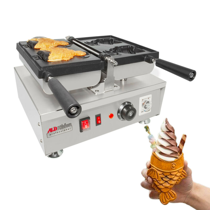 Professional Taiyaki Iron | 2 Open-Mouth Fish Shaped Waffle Cones | Nonstick