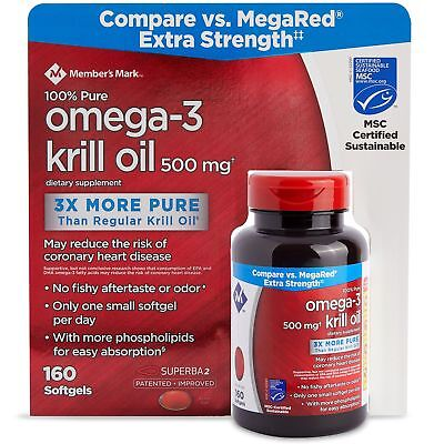 - Extra Strength Omega-3 100% Pure 500mg Krill Oil 160 Softgels Compare to MegaRed