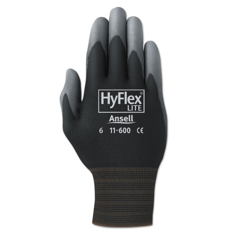 AnsellPro HyFlex Lite Gloves Black/Gray Size 10 12 Pairs 1160010BK