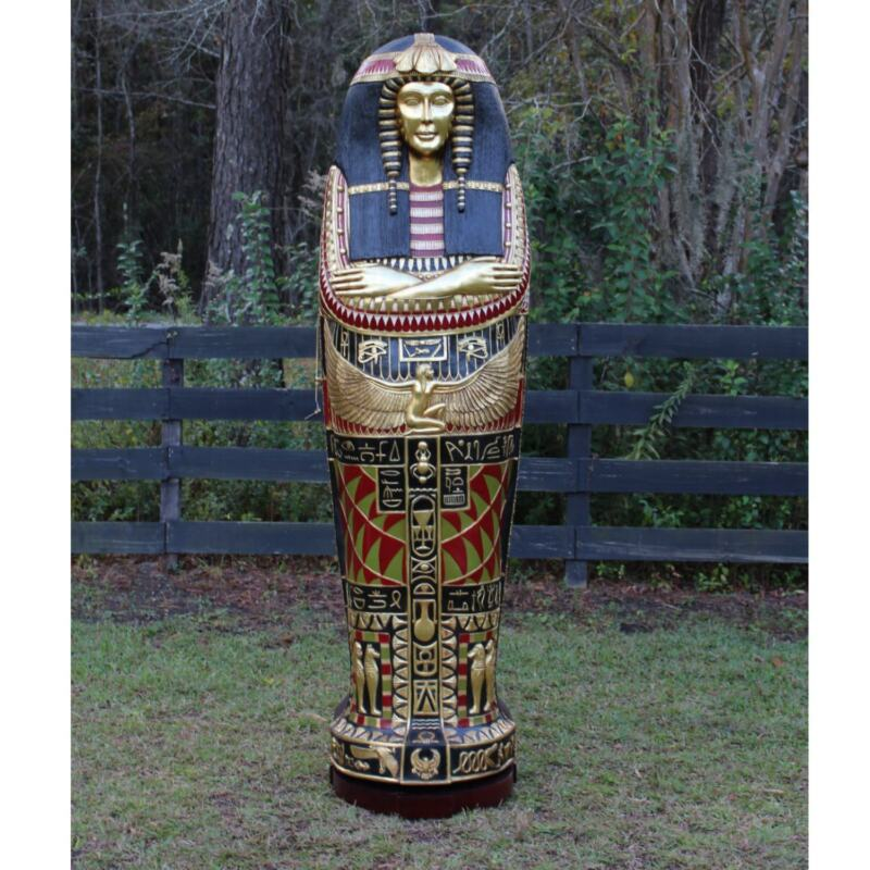 Queen Tut Life Size Sarcophagus Cabinet Statue Not King Gold Leaf Hand Made 6 FT