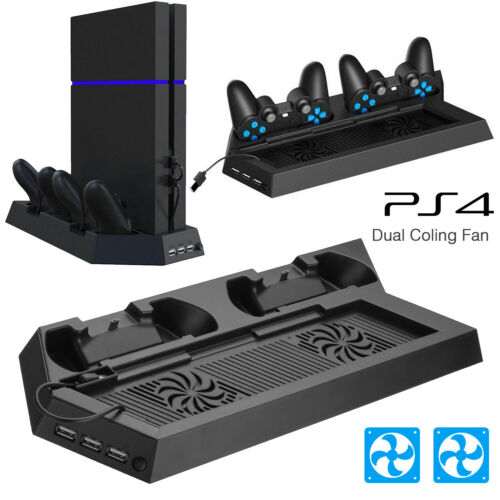 For PS4 Vertical Stand Cooling Fan Controller Charging Station PlayStation 4