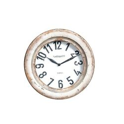Wilco Imports Distressed to Look Old Wall Clock, 11-1/4-Inch by 3-1/4-Inch