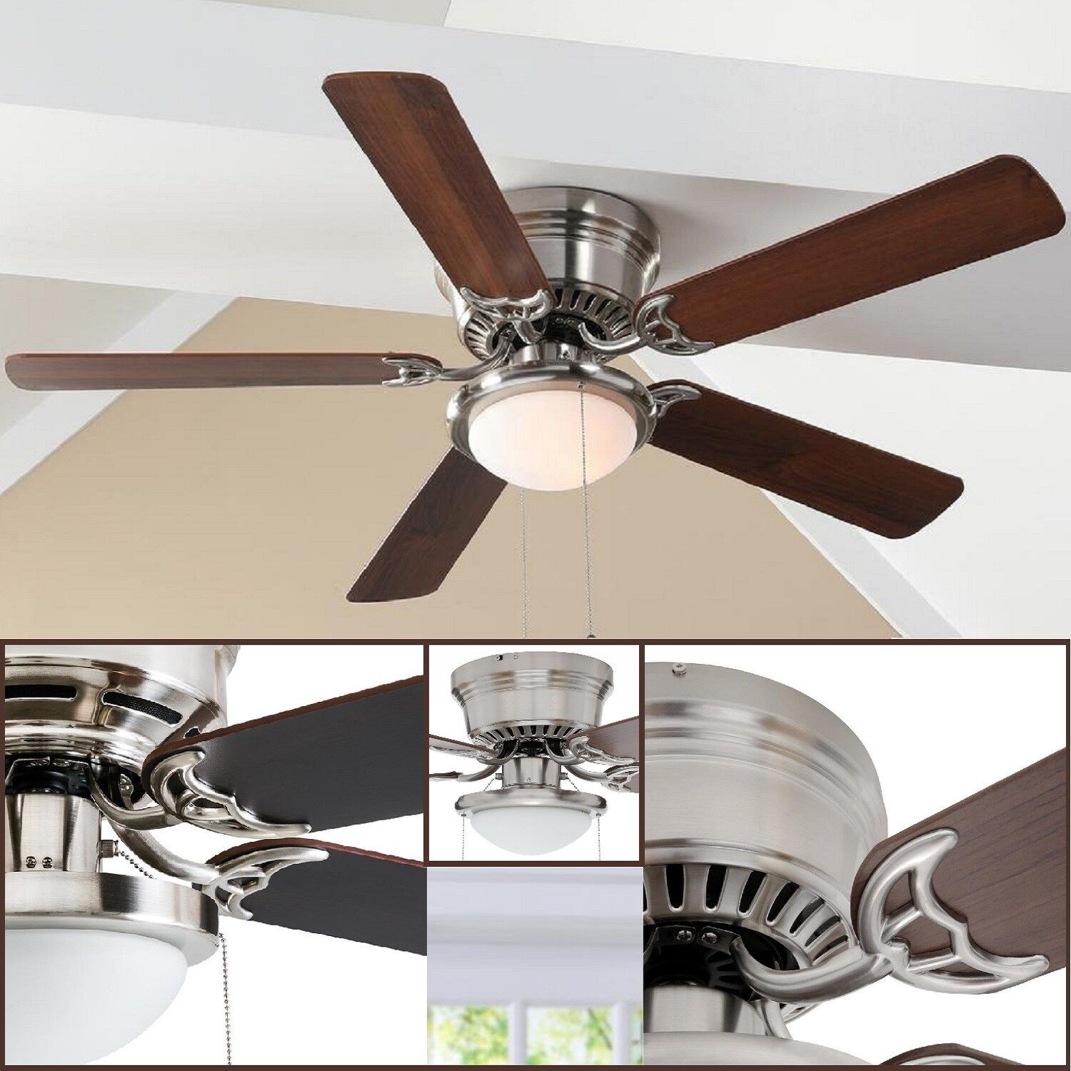 "52"" Ceiling Fan LED Indoor Lamp Brushed Nickel Flush Mount 5"