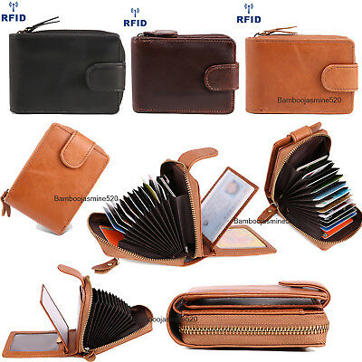 Mens Wallets Credit Card Holder Genuine Leather RFID Blocking Zipper Pocket Bags ()