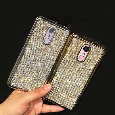 For LG Stylo 4 Bling Glitter Plating Full Diamond Soft Phone Case Rubber (Full Diamond Bling Phone)