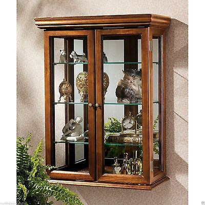 Tuscan Style Mirror Solid Hardwood Wall Curio Cabinet Collectible Storage Shelf