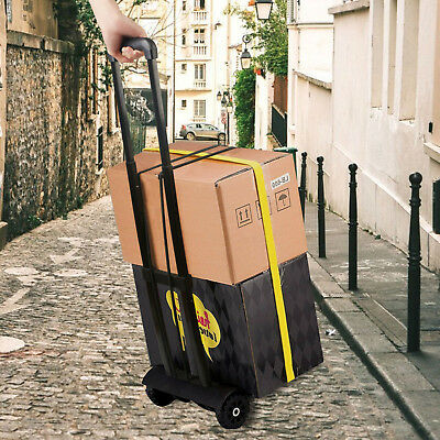 Folding Hand Truck Cart Trolley Luggage Aluminium Black Lightweight Foldable