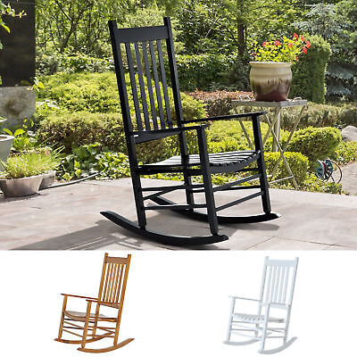 Outsunny Porch Rocking Chair Solid Wood Home Traditional Bench Furniture Outdoor ()