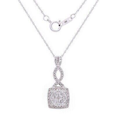 14k White Gold 0.75ctw Diamond Ribbon Cushion Drop Pendant Necklace White Gold Ribbon Pendant