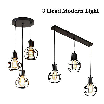 3Head Modern Vintage Industrial Retro Loft Cage Ceiling Lamp Shade Pendant Light