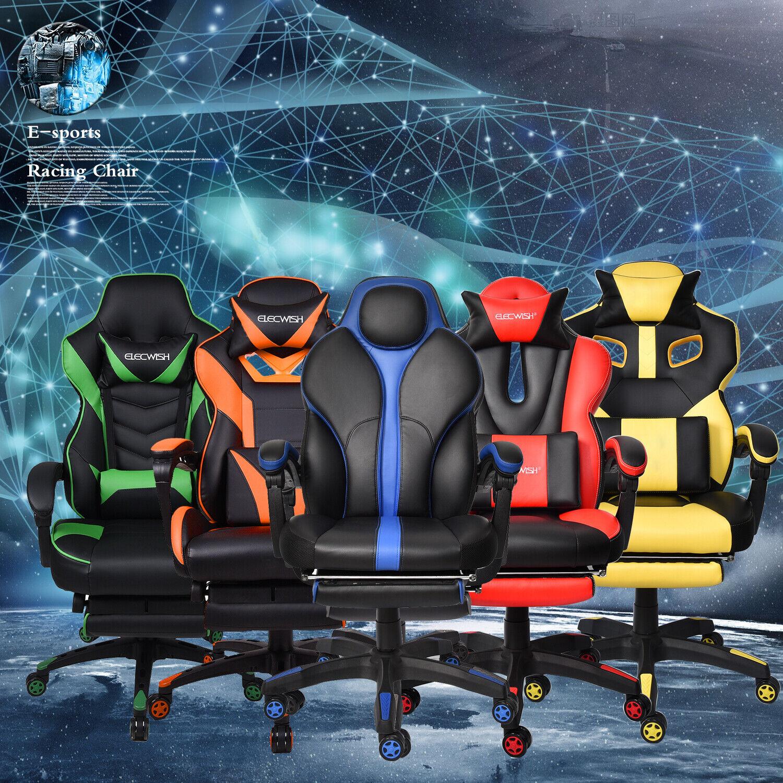 Office Gaming Chair Racing Ergonomic Swivel High Back PU Com