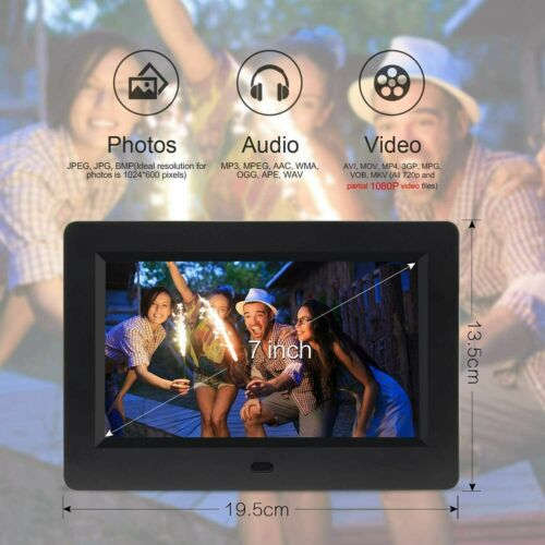 "7"" HD Digital Photo Frame Alarm Clock Video/Music Player Album Remote Control"