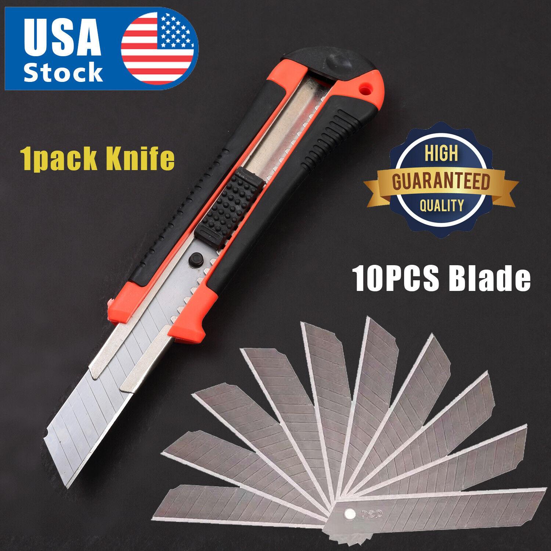 12PCS Knife Utility Box Cutter Retractable Snap Off Lock Razor Sharp Blade Tool Hand Tools