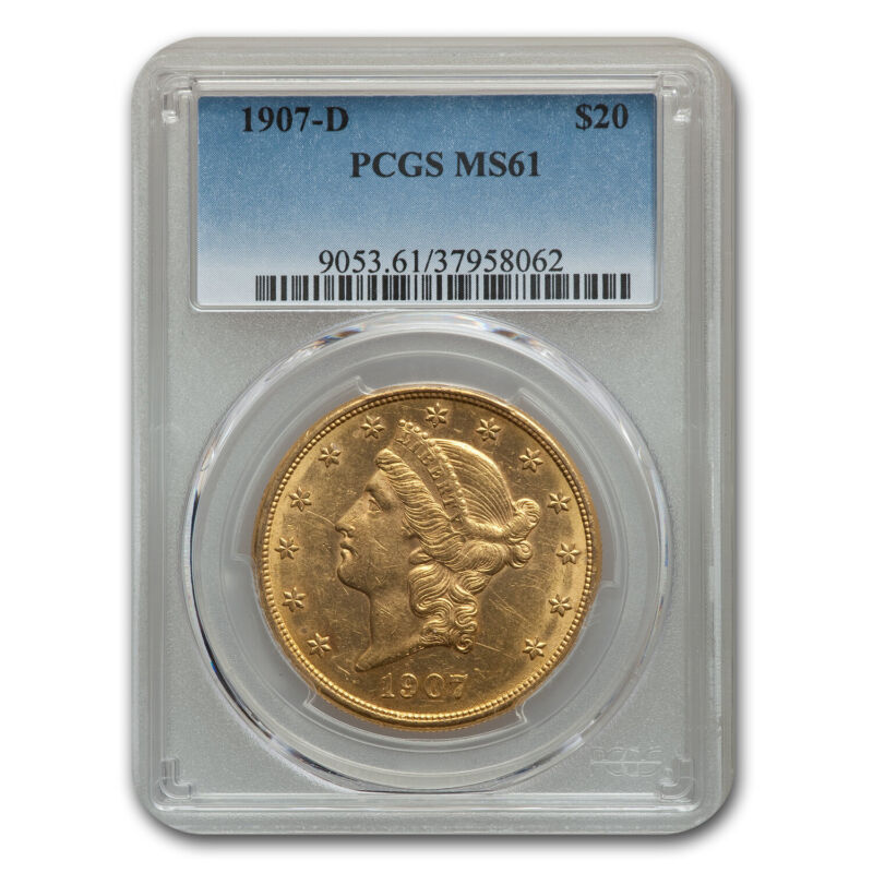 1907-D $20 Liberty Gold Double Eagle MS-61 PCGS - SKU#190076
