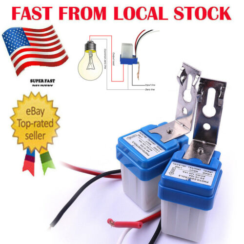 2 x AC DC 12V Auto On Off Photocell Street Light Sensor Switch Photoswitch in US