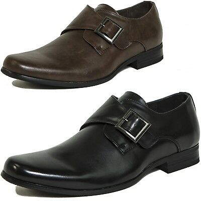 AlpineSwiss Uster Mens Monk Strap Loafers Suede Lined Slip On Buckle Dress Shoes