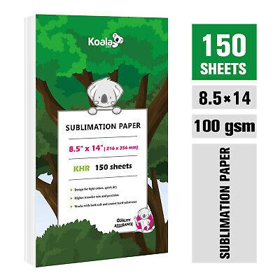 Koala 150 Sheets Dye Sublimation Paper 8.5x14 Inkjet Heat Transfer Cotton Poly
