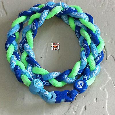 - Phiten Titanium Triple Braid Necklace: Royal Blue/CarolinaBlue/Optic Green