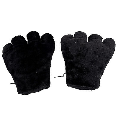 2 x Cat Paw Plush Gloves Party Cosplay Black DI (Cosplay Paws)