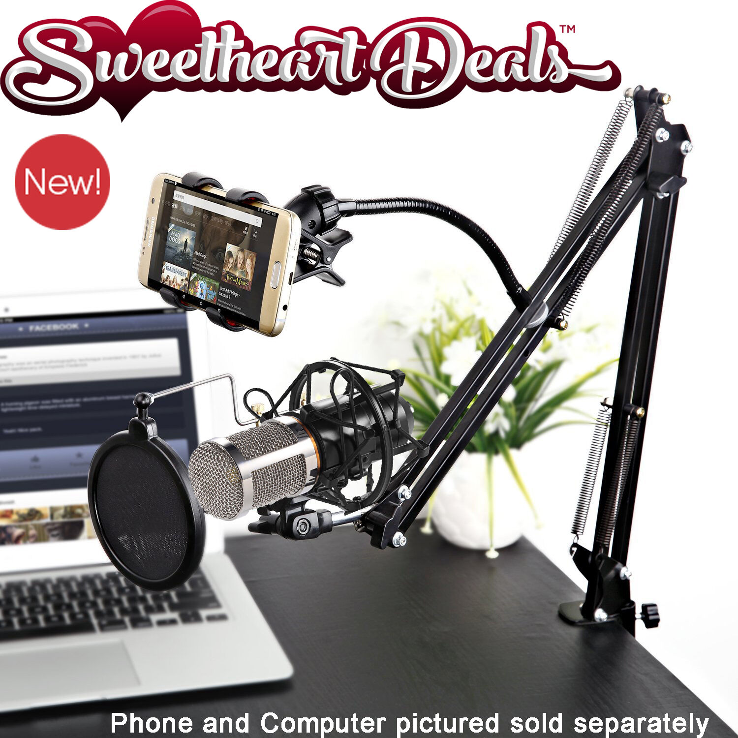 Video Blog Vlogging Kit Pro Recording Mic Scissor Desk St...