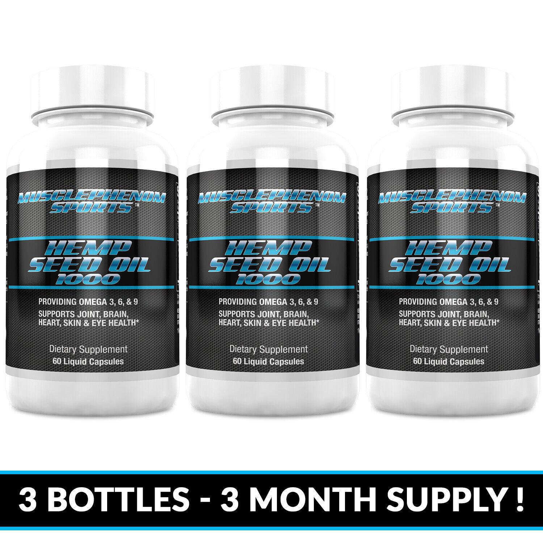 Hemp Seed Oil Capsules 1000mg 3 bottles 180 capsules 3 month supply