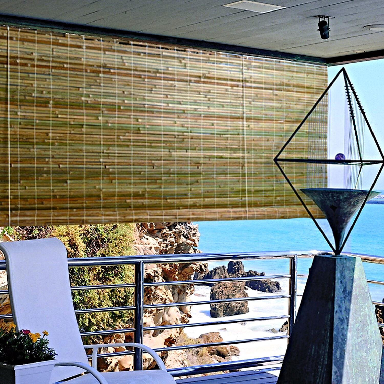 "Bamboo Window Shade Rustic Roll Up Blind Natural Outdoor Curtain Laguna 48x72"""