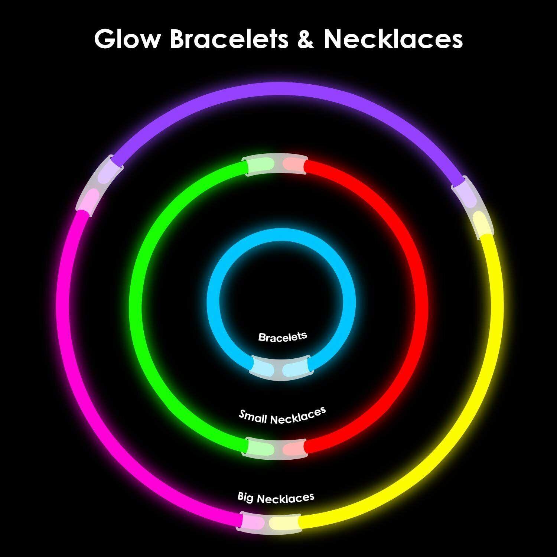 300PCS Glow Sticks Bulk Party Glow in The Dark Fun Party Pack Bracelet Necklace Glow Sticks