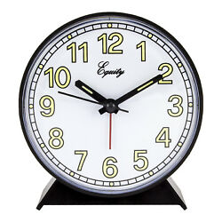14077 Equity by La Crosse Battery Powered Analog Quartz Alarm Clock - Black