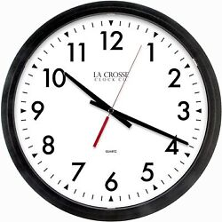New Lacrosse 404-2636-INT Commercial Analog Wall Clock, 14, Black
