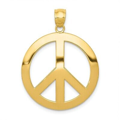 14k Yellow Gold Peace Sign Pendant. (1.1INx0.9IN) Yellow Gold Peace Sign